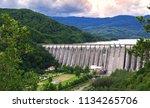 the dam on uz river in bacau ... | Shutterstock . vector #1134265706
