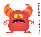 scared cartoon monster laughing.... | Shutterstock .eps vector #1134267539