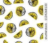 seamless lemon background. hand ... | Shutterstock .eps vector #1134268133