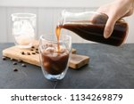 woman pouring cold brew coffee... | Shutterstock . vector #1134269879