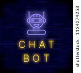 vector neon chat bot on blue...