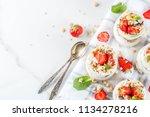 healthy summer breakfast idea ... | Shutterstock . vector #1134278216