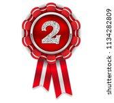gold 2nd place rosette  badge... | Shutterstock .eps vector #1134282809