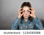 portrait of a pretty girl in a ... | Shutterstock . vector #1134283088