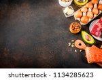 ketogenic low carbs diet...   Shutterstock . vector #1134285623