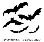 black silhouettes of bats for... | Shutterstock .eps vector #1134286820