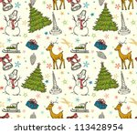 christmas seamless pattern with ... | Shutterstock .eps vector #113428954