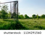 lonely goal in neglected and... | Shutterstock . vector #1134291560