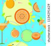 seamless tropical orange repeat ...   Shutterstock .eps vector #1134291629