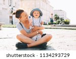 beautiful young mother and baby ...   Shutterstock . vector #1134293729