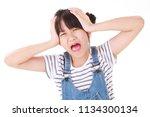 little asian girl scream who... | Shutterstock . vector #1134300134