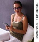 attractive caucasian girl... | Shutterstock . vector #1134300638