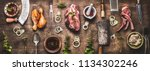 flat lay of various grill and... | Shutterstock . vector #1134302246