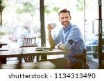 portrait of handsome man having ...   Shutterstock . vector #1134313490