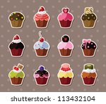 cup cake stickers | Shutterstock .eps vector #113432104