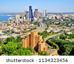 Aerial Shot of Downtown Seattle, Puget Sound, and Interstate 5 Freeway (Summer) - Seattle, Washington, USA - stock photo