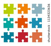 set of different colored puzzle ...   Shutterstock .eps vector #1134323636
