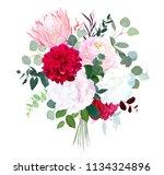 pink protea  ranunculus ... | Shutterstock .eps vector #1134324896