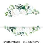 Stock vector wedding floral horizontal vector design banner white rose and hydrangea mint eucalyptus rustic 1134324899