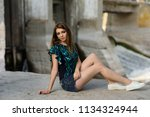 beautiful girl in fashion... | Shutterstock . vector #1134324944