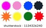 set of multicolor starburst... | Shutterstock .eps vector #1134326240