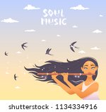 gorgeous lady with long hair... | Shutterstock .eps vector #1134334916