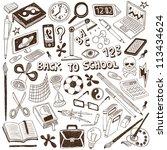 school   doodles collection | Shutterstock .eps vector #113434624