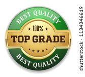 green top grade badge with gold ... | Shutterstock .eps vector #1134346619