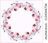 floral round frame from cute... | Shutterstock . vector #1134346736