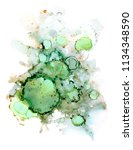 green alcohol ink abstract... | Shutterstock . vector #1134348590