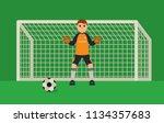 football goalkeeper flat style... | Shutterstock .eps vector #1134357683