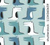 crocodiles  hand drawn backdrop.... | Shutterstock .eps vector #1134360659