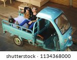 romantic couple in love sitting ... | Shutterstock . vector #1134368000