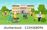 elderly people are walking in... | Shutterstock .eps vector #1134368096