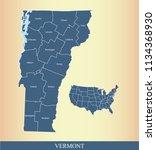 vermont county map vector... | Shutterstock .eps vector #1134368930