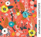 seamless pattern with flowers... | Shutterstock .eps vector #1134373193