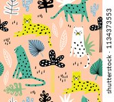 seamless pattern with leopards  ... | Shutterstock .eps vector #1134373553