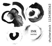 black ink brush stroke. vector... | Shutterstock .eps vector #1134380363