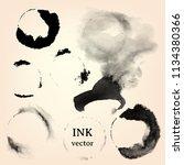black ink brush stroke. vector...   Shutterstock .eps vector #1134380366