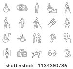 set of disability related... | Shutterstock .eps vector #1134380786