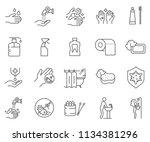 set of hygiene related vector... | Shutterstock .eps vector #1134381296