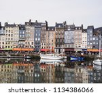 famous old harbour of honfleur  ... | Shutterstock . vector #1134386066
