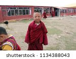 tibetan child monks smiling to... | Shutterstock . vector #1134388043