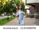 closeup portrait of fashionable ... | Shutterstock . vector #1134388898