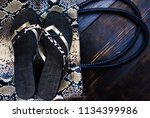 background of shoes and bags of ... | Shutterstock . vector #1134399986