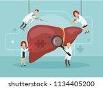 doctors treat a sick liver.... | Shutterstock .eps vector #1134405200