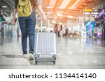 beauty woman traveling and... | Shutterstock . vector #1134414140