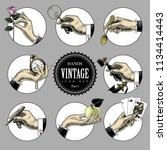 set of round images in vintage... | Shutterstock .eps vector #1134414443