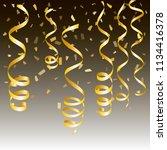 gold streamers. serpentine... | Shutterstock .eps vector #1134416378