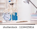 skeleton businessman working in ... | Shutterstock . vector #1134425816